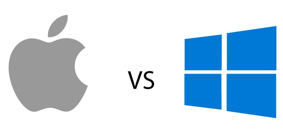 Apple brand logo and Microsoft Windows brand logo