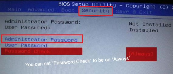 BIOS Security Setting User Option