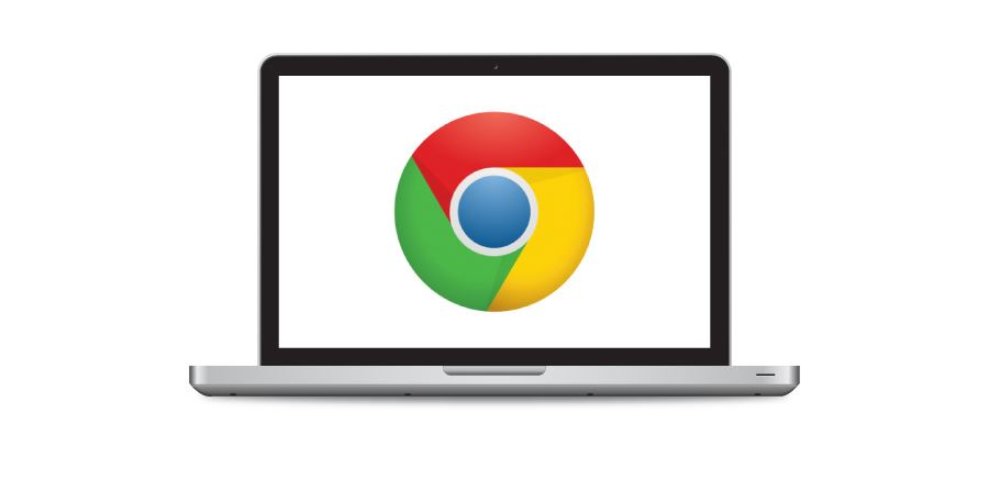 Google Chrome logo inside a laptop screen