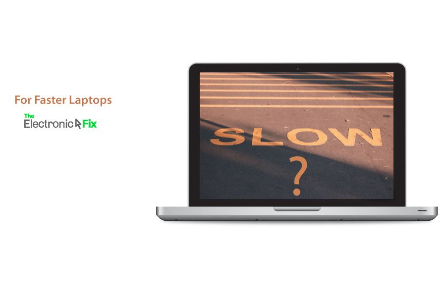 Laptop illustration with slow road sign inside