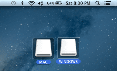 Apple Mac and Windows disks icons on a laptop background