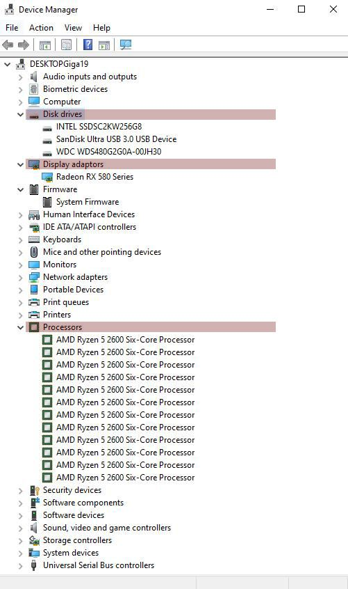 Windows Device Manager options