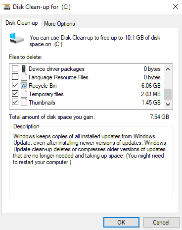 Windows Disk Cleanup utility