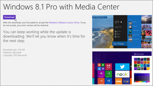 Windows upgrade interface and arrow showing where to click to download Windows 8.1 version