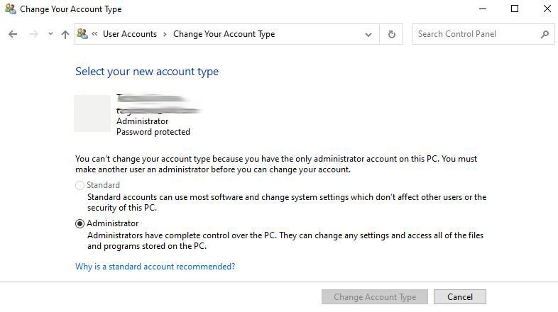 Windows 10 Change Your Account Type User Interface