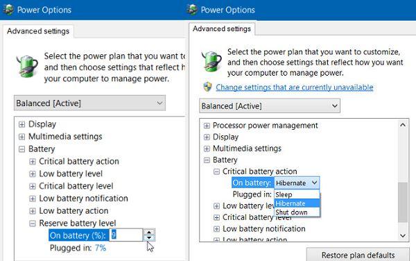 advanced battery settings Windows 10