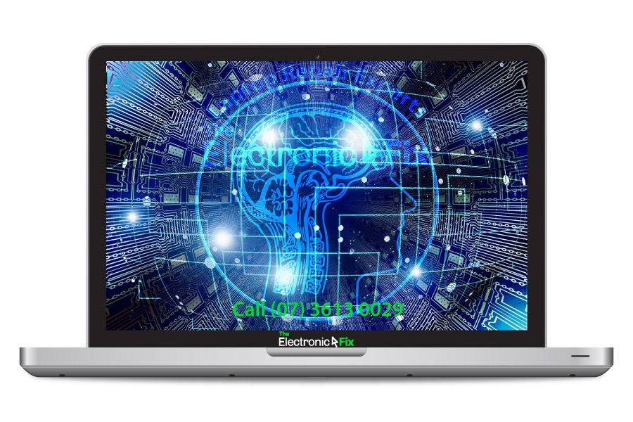 computer electric circuit human brain artificial intelligence laptop illustration
