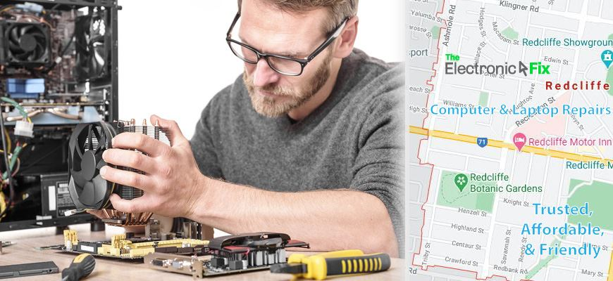computer technician inspecting computer parts and a map of Redcliffe Brisbane