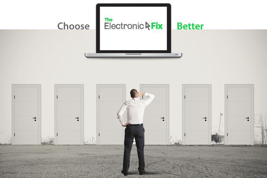concept of businessman choosing the right door and laptop illustration