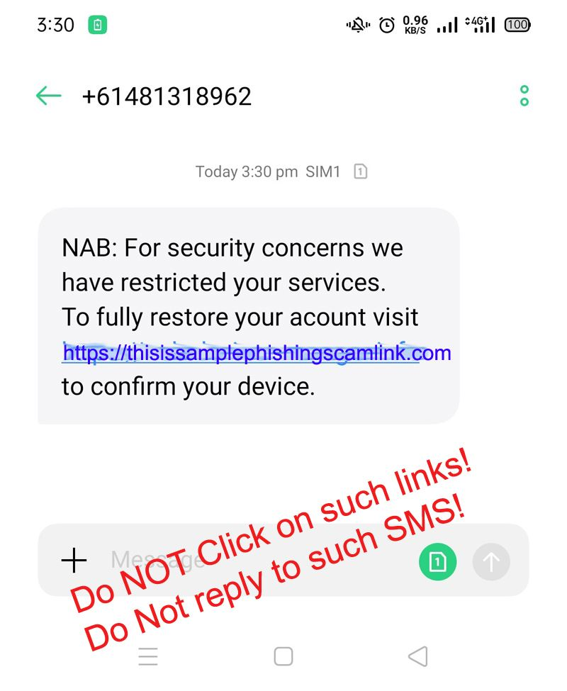 example phishing SMS sent to Australian mobile number