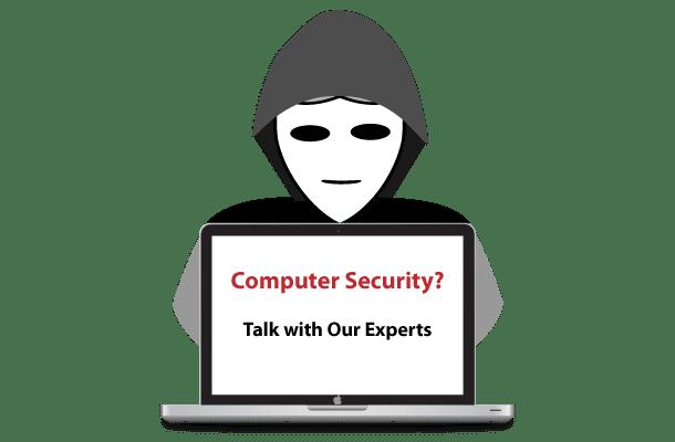 hacker behind laptop computer security