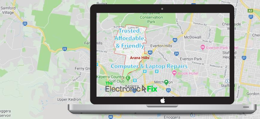 illustration of a Laptop Computer next to a map of Arana Hills Brisbane Queensland