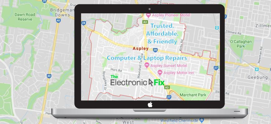 illustration of a Laptop Computer next to a map of Aspley Brisbane Queensland