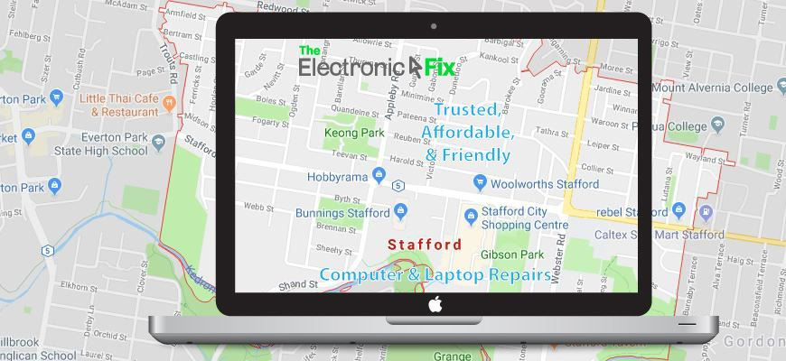 illustration of a Laptop Computer next to a map of Stafford Brisbane Queensland