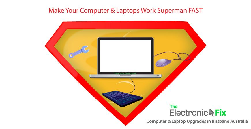 laptop device and computer peripherals illustration for computer upgrades