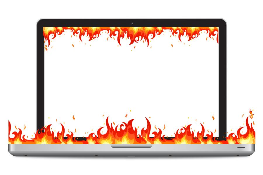 laptop illustration with fire flames inside