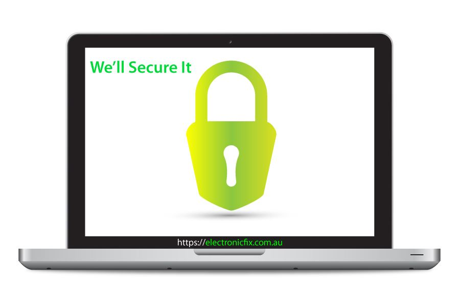 laptop illustration with security lock icon