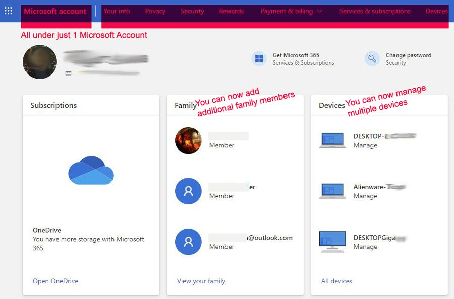 Microsoft account settings user interface