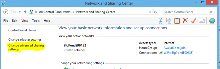 network and sharing tab interface with highlighted change advanced sharing settings option