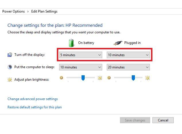 power options edit plan settings Windows 10