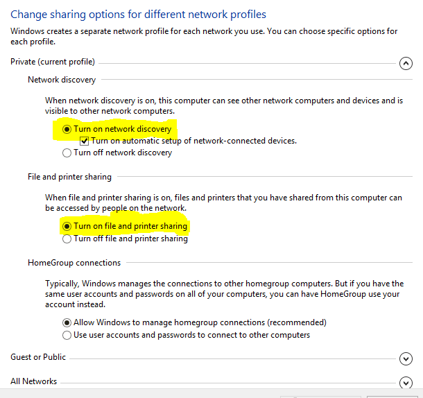 private current profile option with a highlighted turn on network discovery and turn on file and printer sharing