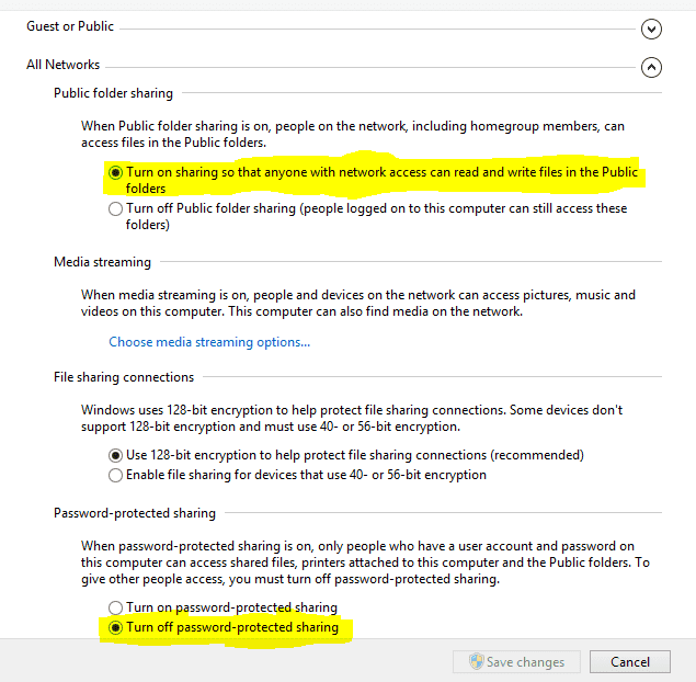public folder sharing option with a highlighted turn on sharing and turn off password protected option