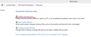 How to make a recovery drive in win 8.1