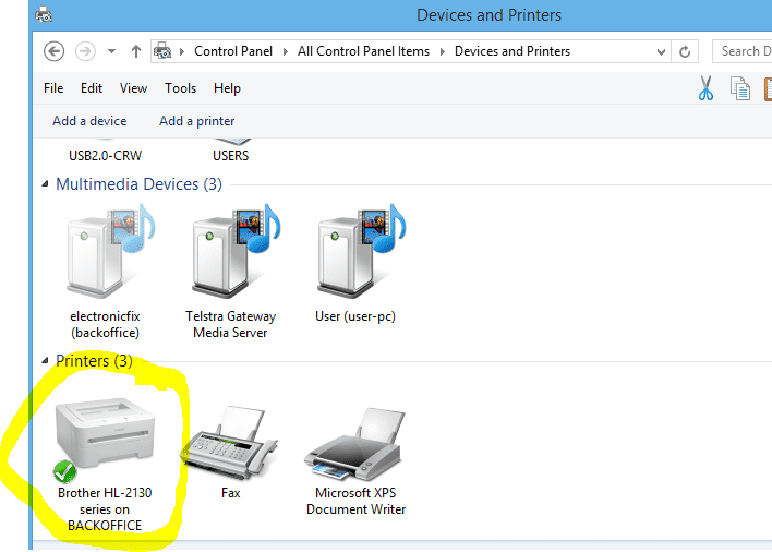 screenshot illustrating typical devices and printers folder with one of the printers highlighted