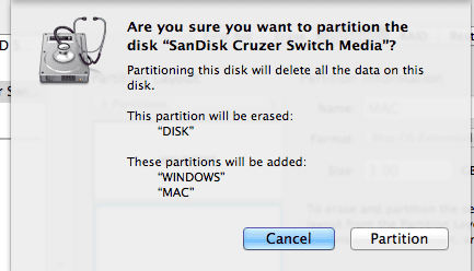 screenshot of message to verify disk partition setup