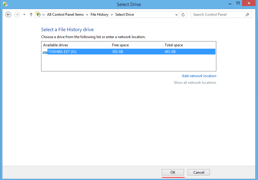 screenshot of select drive file
