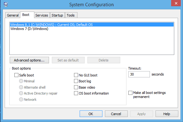 screenshot of system configuration and boot tab selected at the top of the menu