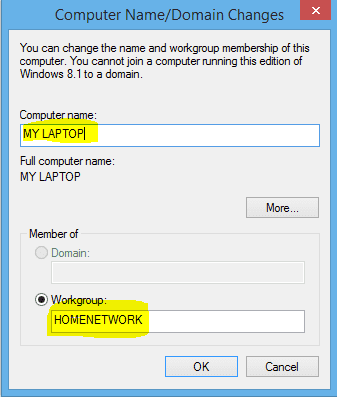 screenshot of tab for changing computer name and workgroup with both option highlighted