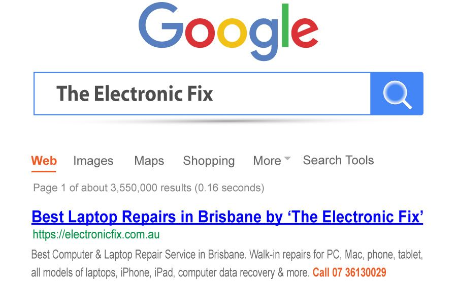search results for the best laptop repair service in Brisbane