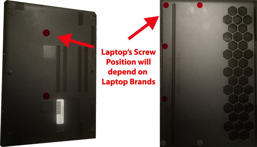 underneath of two different laptop brand model